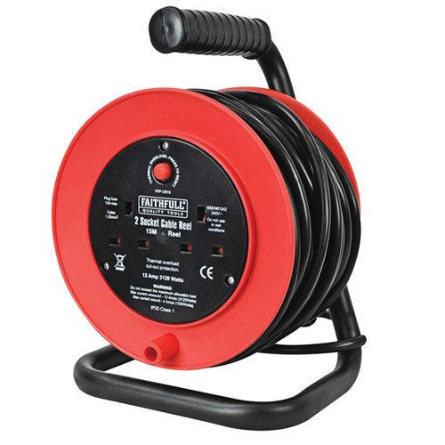 Faithfull Power Plus XP23-E1 Open Drum Cable Reel 240 Volt 15 Metre 13 Amp 2 Socket