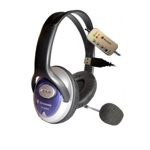 Dynamode Stereo Usb Overhead Headphones and Microphone
