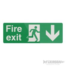 400mm x 150mm Fire Exit Arrow Sign - Pl Down Fixman 400 530774 -  fire exit arrow sign 150mm pl down fixman 400 530774