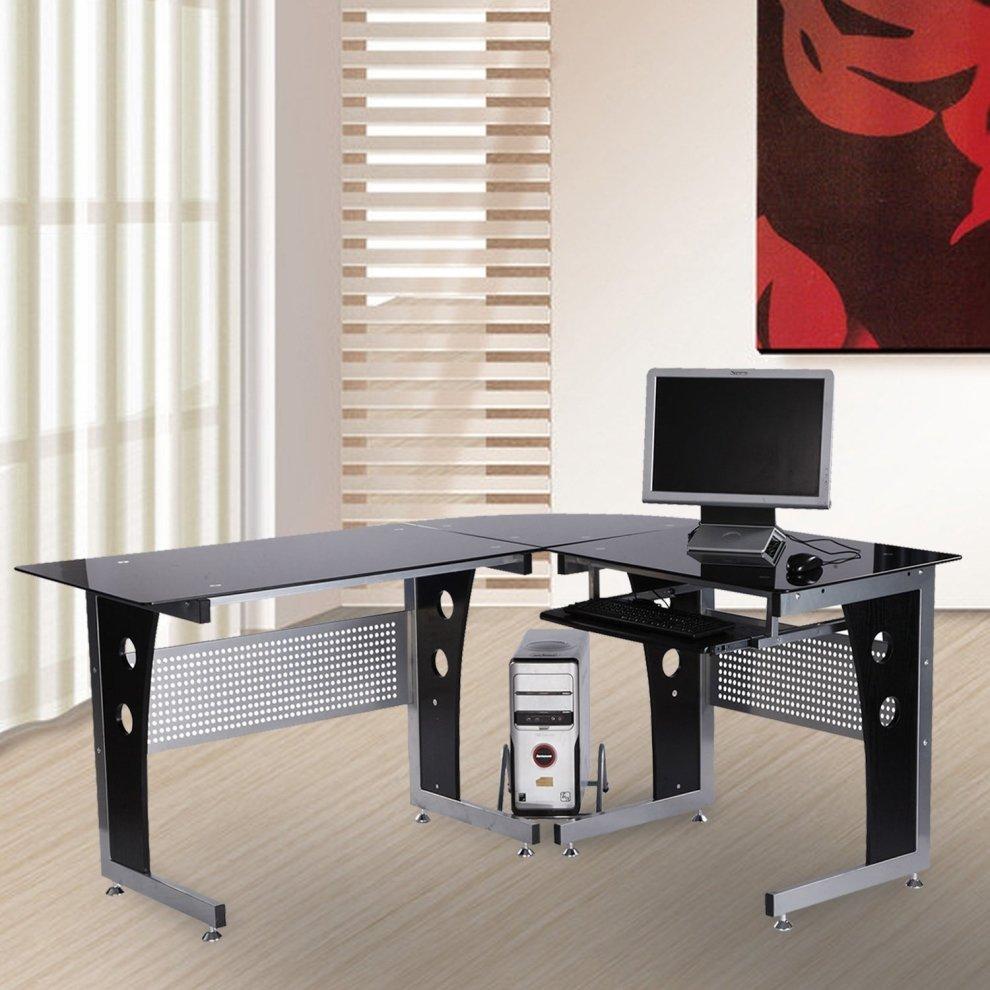Corner Computer Desk: Homcom Black Glass Reversible Office Desk