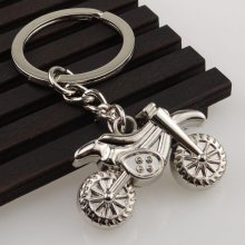 Motocross Bike Motorbike Motorcycle Silver Metal Keyring Key Chain Novelty Gift Present