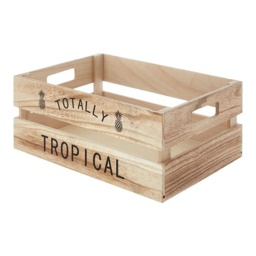 Totally Tropical Fruit Crate, Natural, Paulownia Wood