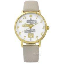 Kate Spade Metro Clocktower Gray Leather Ladies Watch KSW1126