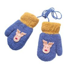 Cartoon Deer Plush-lined Hand Warmer Toddler Warm Gloves with String, #09