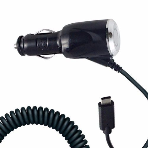 i-Tronixs - Black Coiled Cord Adapter (2000 mAh) Type-C Car Charger for Sony Xperia XA2