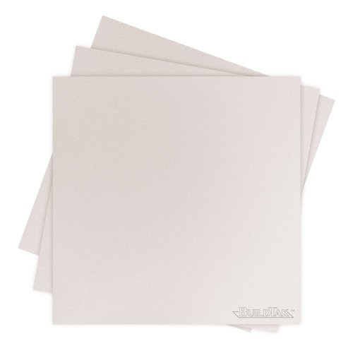 """BuildTak BT65X65WT-3PK 3D Printing Build Surface, 6.5"""" x 6.5"""", 165 mm x 165 mm, Square, White (Pack of 3)"""