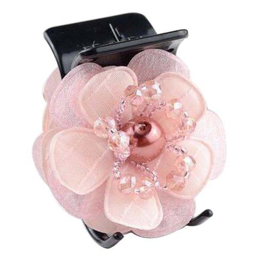 [Pink] Pretty Flower Fabric Hair Claws Hair Barrettes Claw Clips