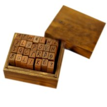 Wooden Alphabet Stamps Upper Case Stamps Letter Stamps with Wood Box