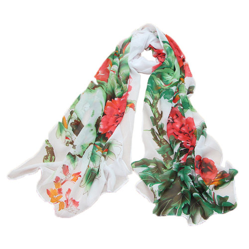 Kylin Express Womens Emulation Silk Chinese Peony Chiffon Shawl Scarve(White)