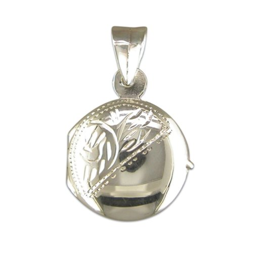 Childrens Sterling Silver Small Engraved Round  Locket On A Curb Necklace