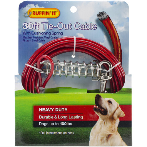 Heavy Duty Cable Tie Out W/Cushioning Spring 30ft-