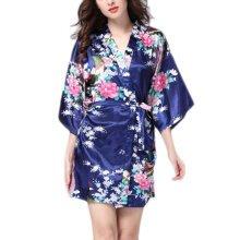 Charming Women Bathrobe Blossoms Peacock Kimono Silk Robes Gown-Navy
