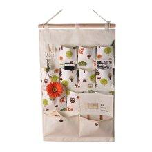 12-Pockets Zakka Wall Door Hanging Storage Bag Case Home Organizer, C