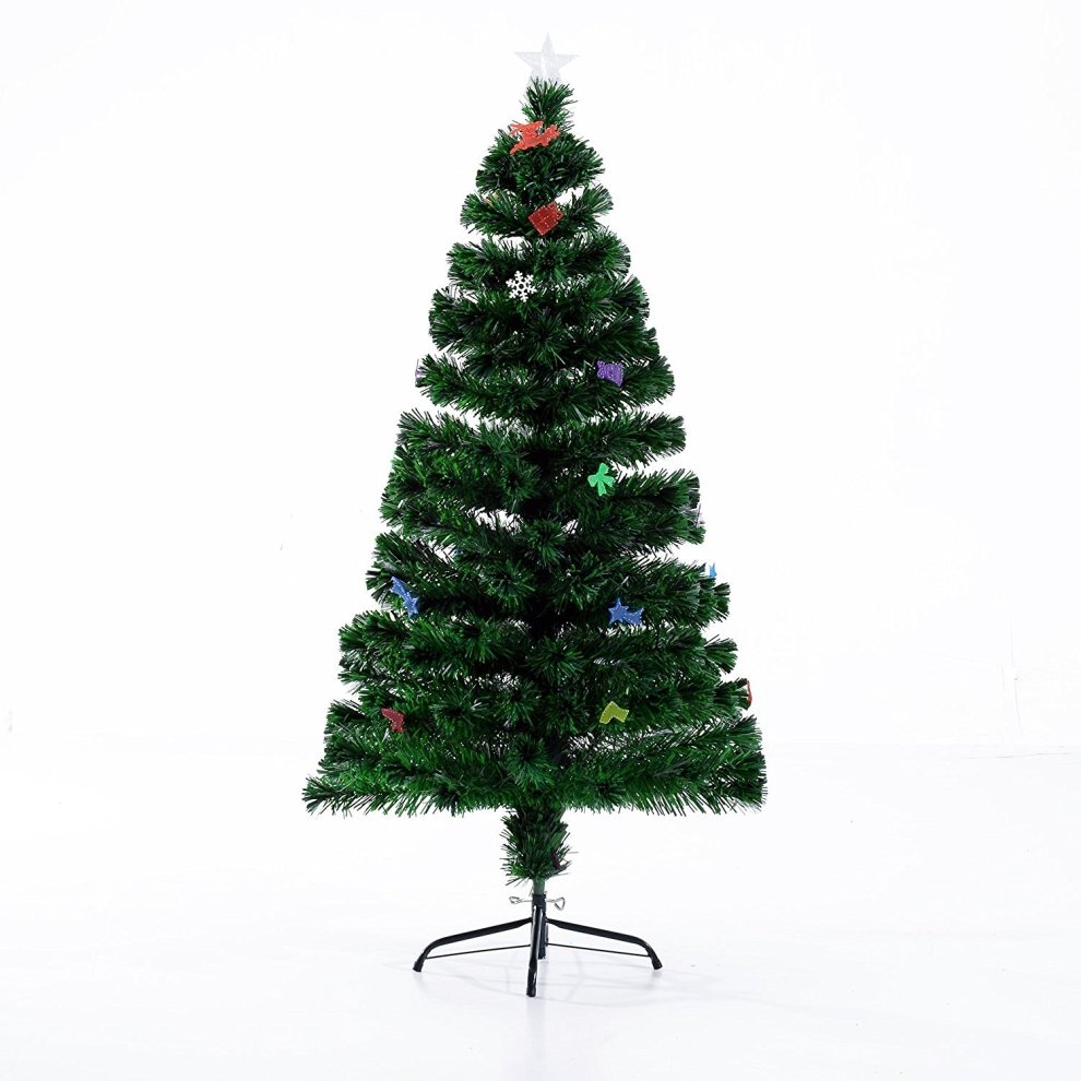 Homcom Artificial Christmas Tree Metal Stand (5ft with 180 ...