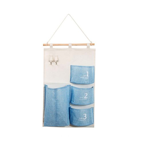Home Organizer Linen Cotton Fabric Wall Door Hanging Storage Bag