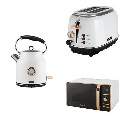 ROSE GOLD WHITE Digital Microwave, 1.7L Traditional Bottega Kettle & 2 Slice Toaster