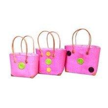 Madagascar Set of 3 Pink Raffia Hanta Swirl Baskets