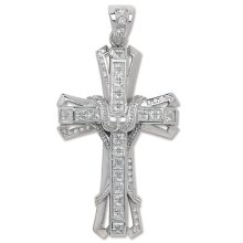 Childrens Sterling Silver Bling Cross Pendant On A Curb Necklace