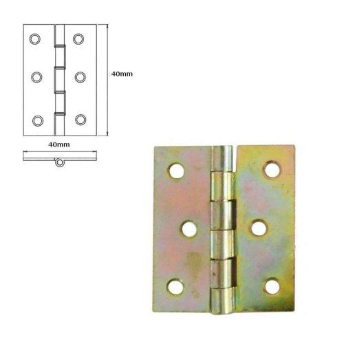 10 Pcs Folding Closet Cabinet Door Butt Hinge Brass Plated 40x40mm