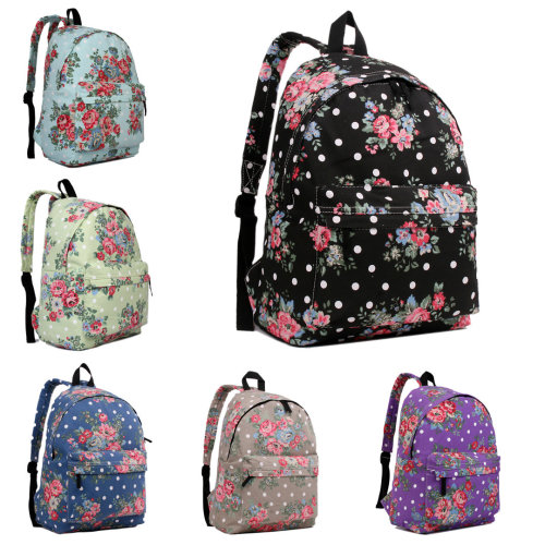 KONO Women Girls Backpack Flower Canvas School Bag
