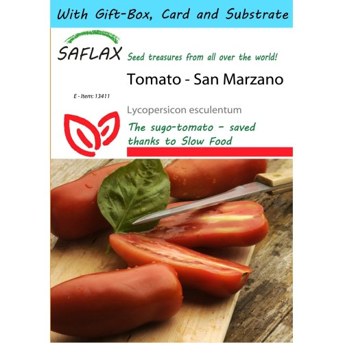 Saflax Gift Set - Tomato - San Marzano - Lycopersicon Esculentum - 10 Seeds - with Gift Box, Card, Label and Potting Substrate