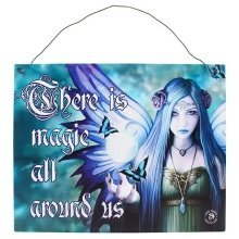 Anne Stokes Mystic Aura Metal Wall Door Sign Plaque Purple Fairy There Is Magic All Around Us Gothic Pagan Gifts Wiccan Fantasy