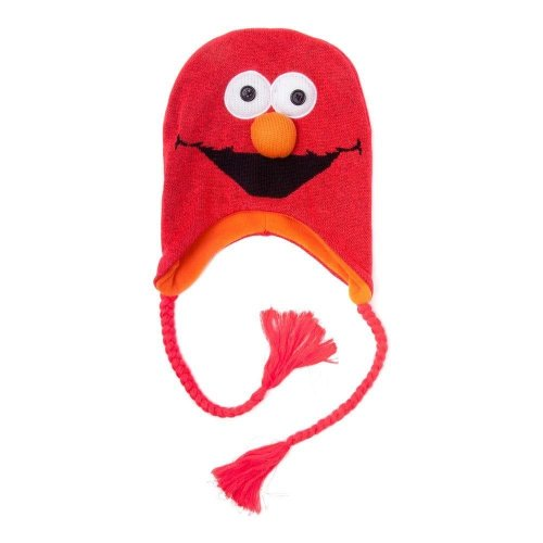 Sesame Street Unisex 3D Elmo Laplander Earflap Beanie One Size - Red