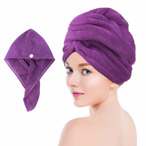 Towel Master Turban Hair Towel,Spa Days Luxury Absorbent, Lightweight (Purple)