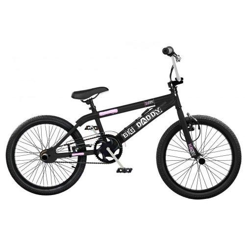 "Rooster Big Daddy Kids 20"" Wheel Freestyle BMX Bike Black White Gyro RS125BBW"