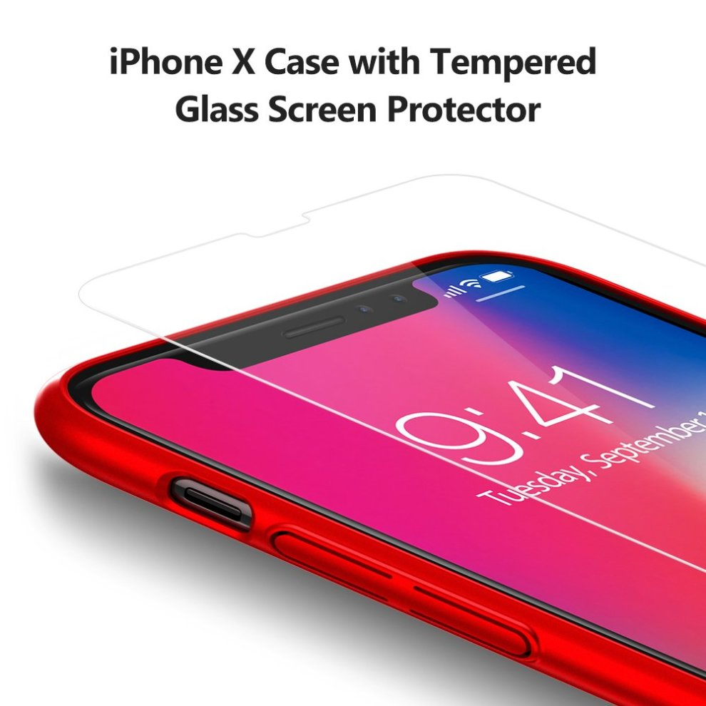 26e864476d60f4 ... TORRAS iPhone X Case, iPhone XS Case, Ultra Thin Slim Case with  [Tempered ...
