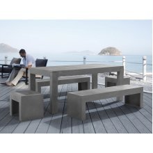 Concrete Outdoor Dining Set - Table with Benches and Stools - TARANTO