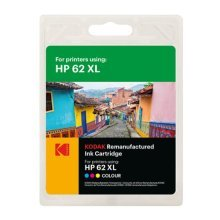 Kodak Remanufactured HP 62XL Colour Inkjet Ink, Cyan, Magenta, Yellow, 21ml