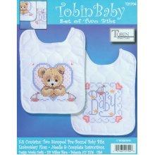 "Tobin Stamped Cross Stitch Bib Pair Kit 8""X10"" 2/Pkg-Bedtime Prayer Boy"