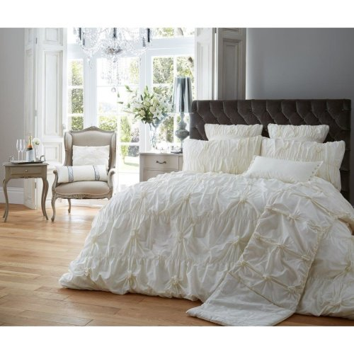 Alexander cream ruched cotton blend duvet cover