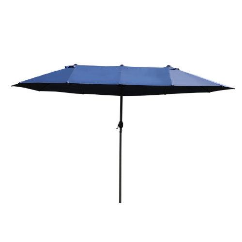 24942aa44d Outsunny 4.6M Patio Double Designed Sun Umbrella Large Garden Parasol Sun  Shade Canopy Market Outdoor Beach Blue BASE NOT INCLUDED