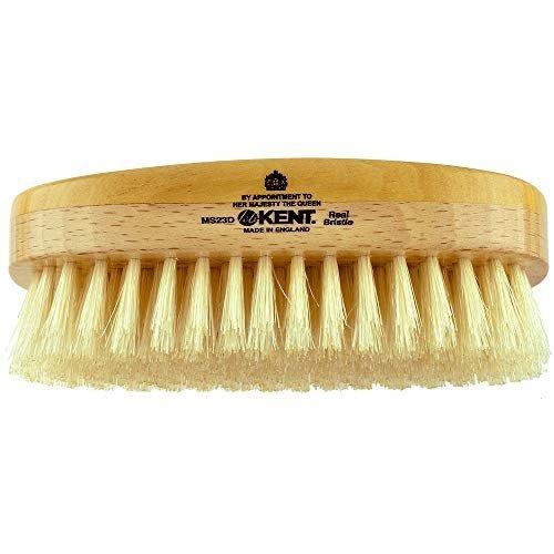 Kent MS23D Finest Mens Range Military Style Rectangular Satin and Beech Wood Natural Bristle Brush