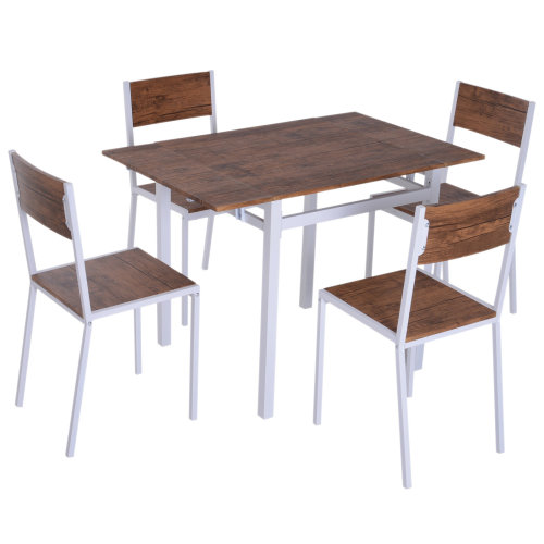 HOMCOM 5pcs Expandable Table Dining Set Chair Wooden Kitchen Furniture Walnut