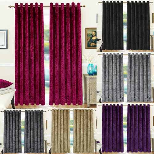 Crushed Velvet Curtains Eyelet Ring Top Thermal Blackout Fully Lined Curtain