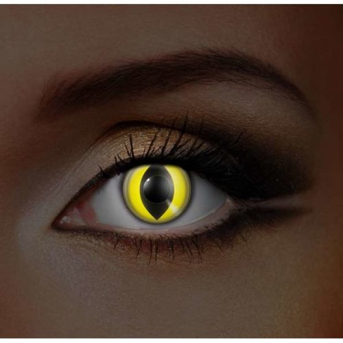 i-Glow Yellow Cat UV Contact lenses (Pair) - Halloween Contact Lenses