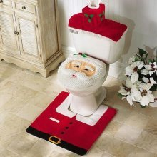 Starmo Christmas Decorations Happy Santa Toilet Seat Cover And Rug Bathroom Set