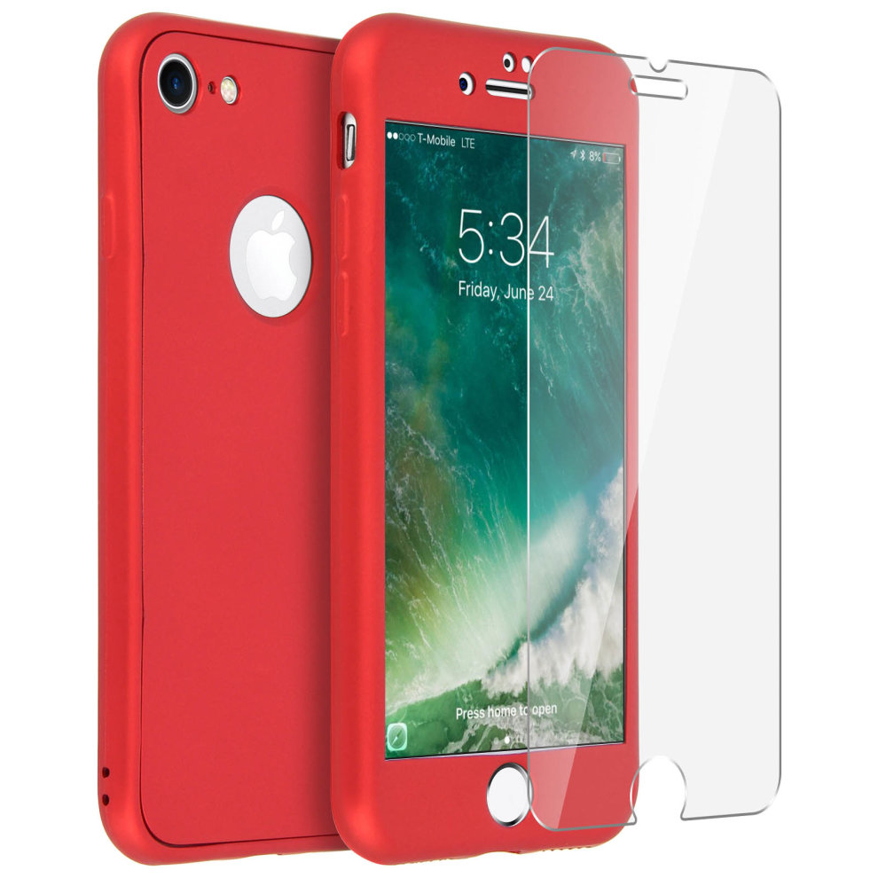 size 40 010a7 1b1c0 Back and front silicone case + Tempered glass film for iPhone 7 / 8 - Red