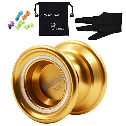 Authentic Magicyoyo N6 Magistrate Unresponsive Yo-Yos with Glove & Bag & 5 Strings, Aluminum, Professional Toy Children Girl Boy Gifts, Gold