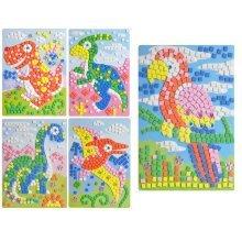 Dinosaur Crystal Sticky Mosaics for Kids Mosaic Kits, 5 Pics