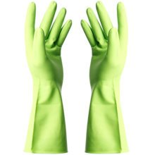 Thin Clean Rubber Gloves To Wash Dishes Waterproof Gloves(Fresh Green)