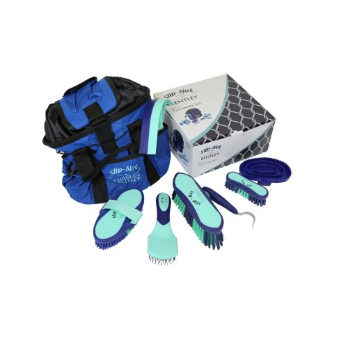 Bentley Deluxe 8pc Equestrian Horse Grooming Brush Kit Set Boxed Mint & Navy