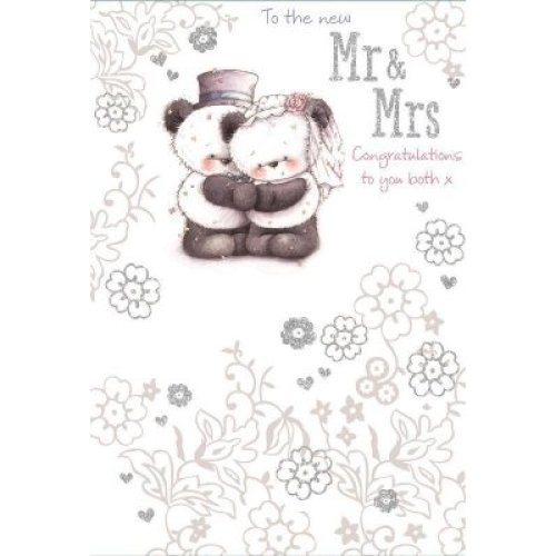 To The New Mr & Mrs Wedding Card Congratulations To You Both Cute Bears