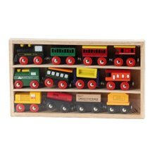 Omni Wooden Toys Wooden Engines and Train Cars Collection Set, 12 Piece