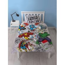 Marvel Comics Retro Single Duvet Cover Set Polycotton
