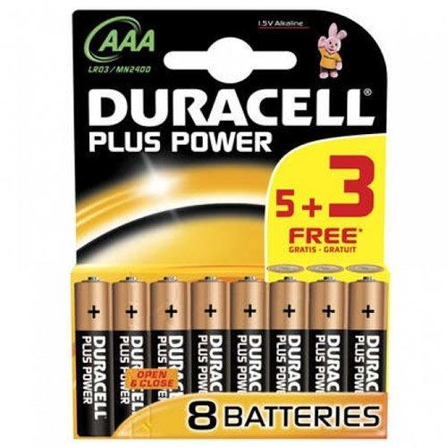 Duracell AAA 5 + 3 Free Power Plus (Model No. MN2400B53FREEPP)