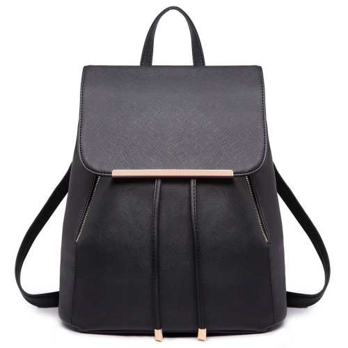 Miss Lulu Women Leather Backpack Girls School Bag Drawstring Daypack Black